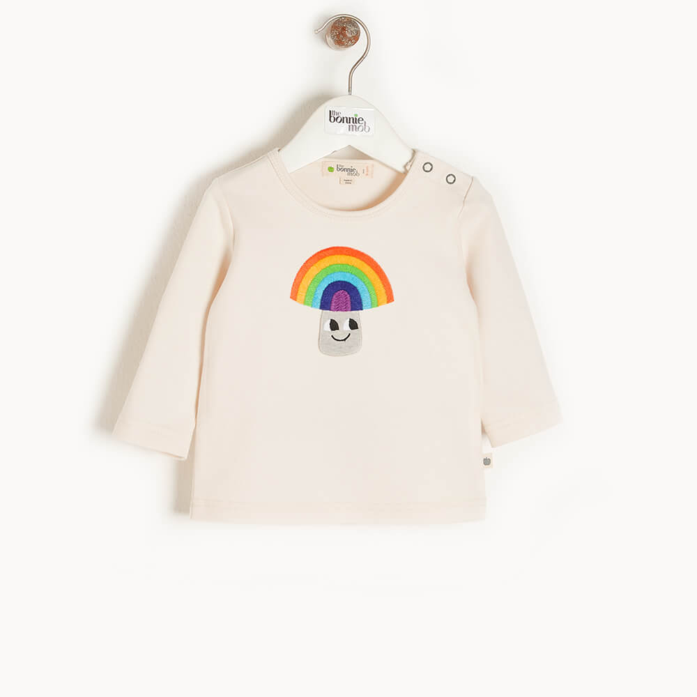 ELDER - Kids Applique T-Shirt  RAINBOW MUSHROOM - The bonniemob