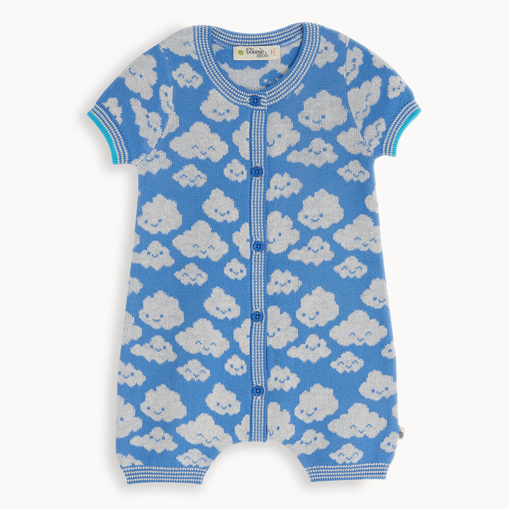 HOCKNEY - Baby Cloud Playsuit BLUE - The bonniemob