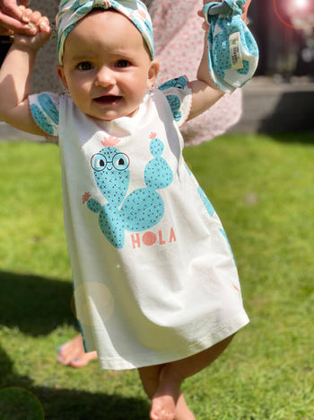 LIDO - Baby Dress With Frill Shoulder CACTUS - The bonniemob