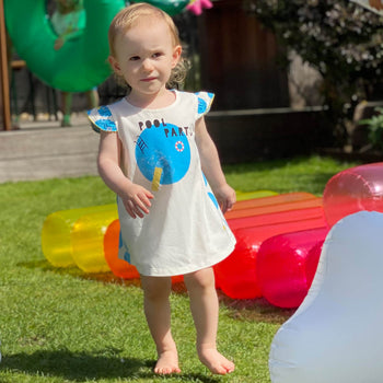 LIDO - Baby Dress With Frill Shoulder POOLS - The bonniemob