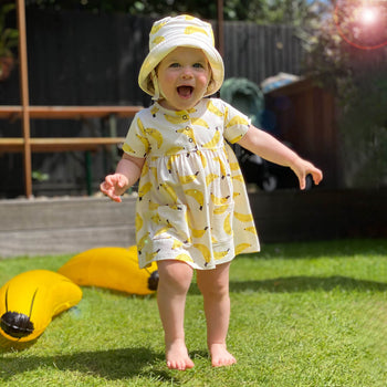 LOLL - Baby Printed Dress With Pockets BANANA - The bonniemob