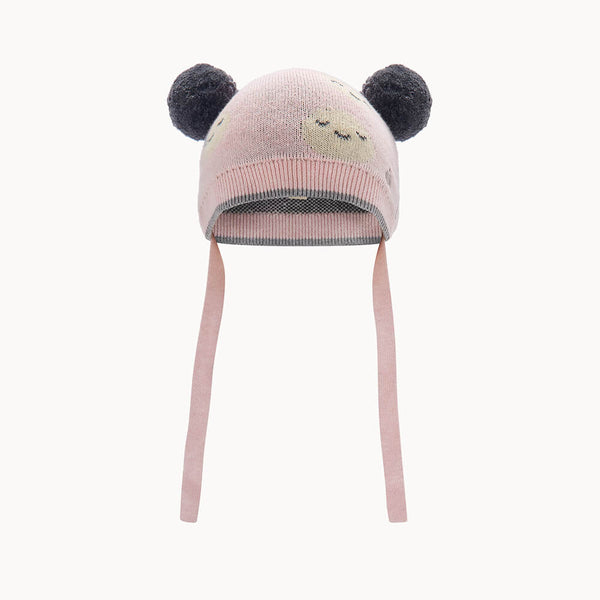 MARS - Kids Moon Jaquard Pom Pom Hat  PINK - The bonniemob