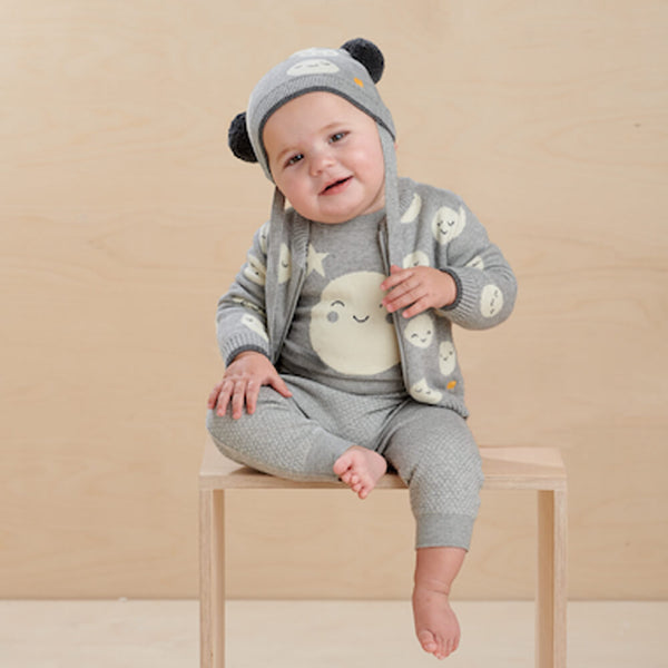 MERCURY - Baby Moon Jaquard Cardigan GREY - The bonniemob
