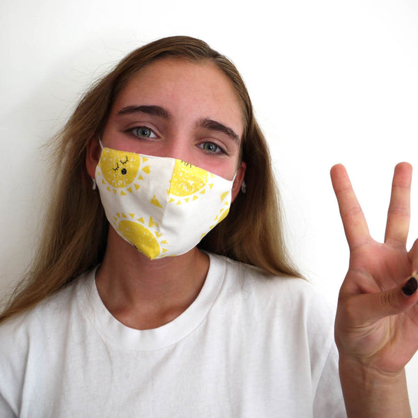 FACEMASK - organic cotton- SUNSHINE print - The bonniemob