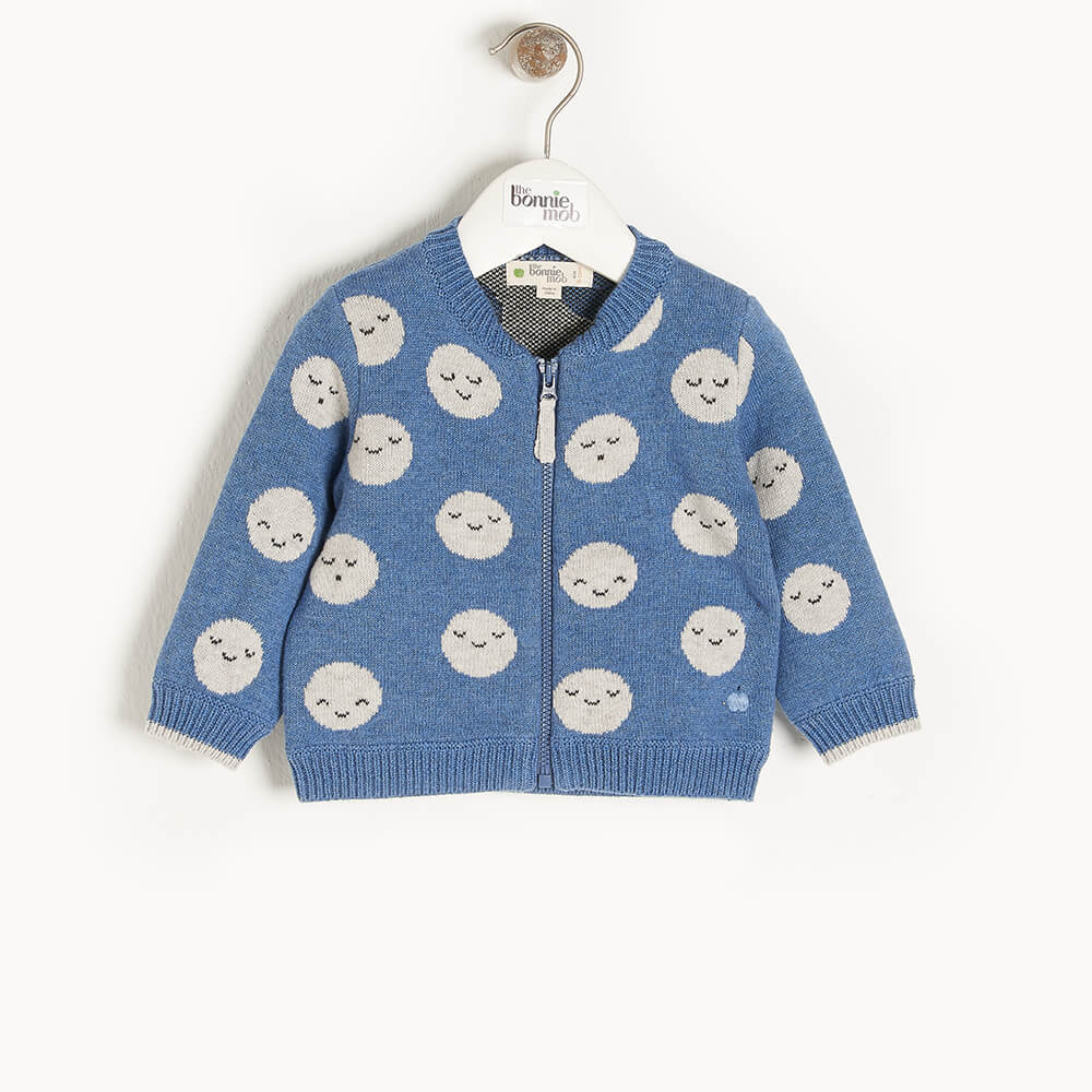 MERCURY - Kids Moon Jaquard Cardigan  BLUE - The bonniemob