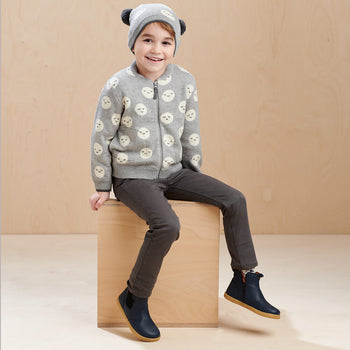 MARS - Kids Moon Jaquard Pom Pom Hat  GREY - The bonniemob