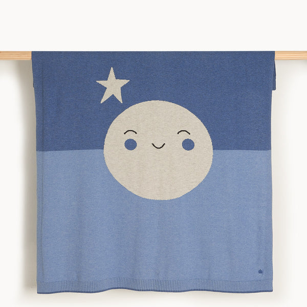 MILKWOOD - Baby Moon Intarsia Blanket BLUE - The bonniemob