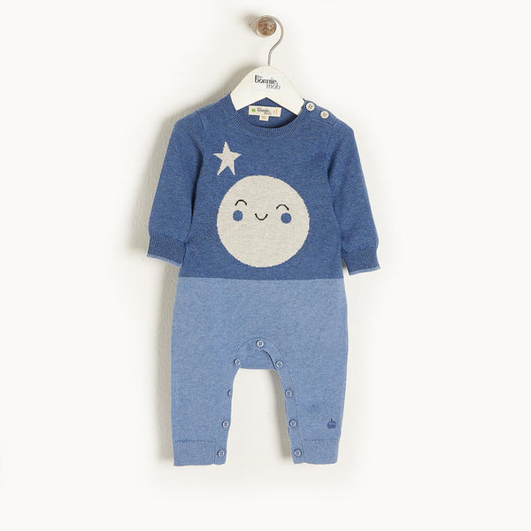 MILKY WAY - Baby Moon Intarsia Playsuit BLUE - The bonniemob