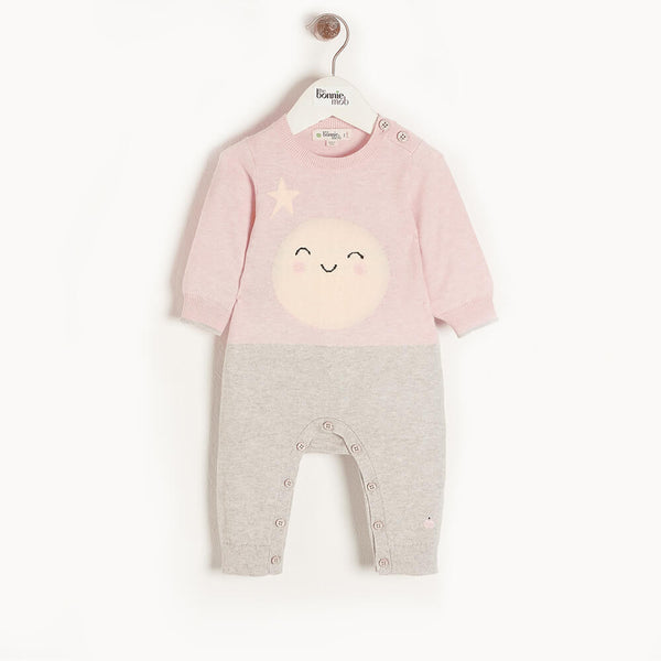 MILKY WAY - Baby Moon Intarsia Playsuit PINK - The bonniemob