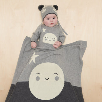MILKWOOD - Baby Moon Intarsia Blanket GREY - The bonniemob