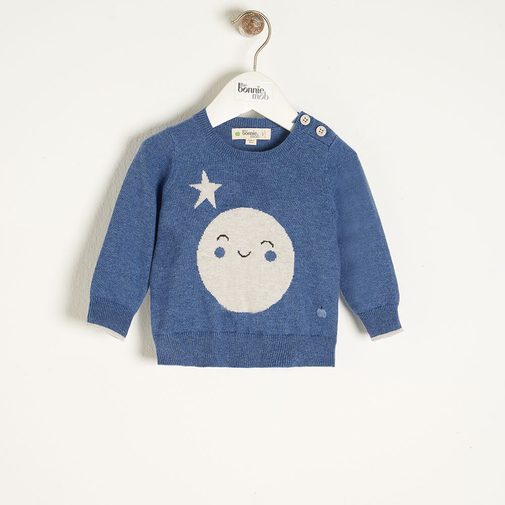 MOONLIGHT - Baby Moon Intarsia Sweater BLUE - The bonniemob