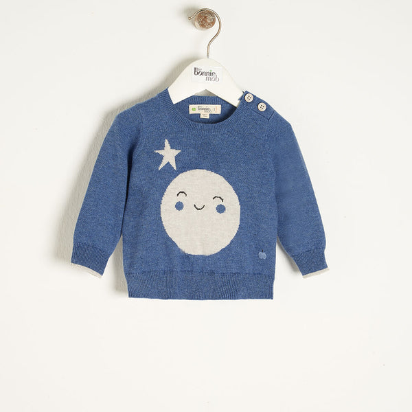 MOONLIGHT - Kids Moon Intarsia Sweater  BLUE - The bonniemob