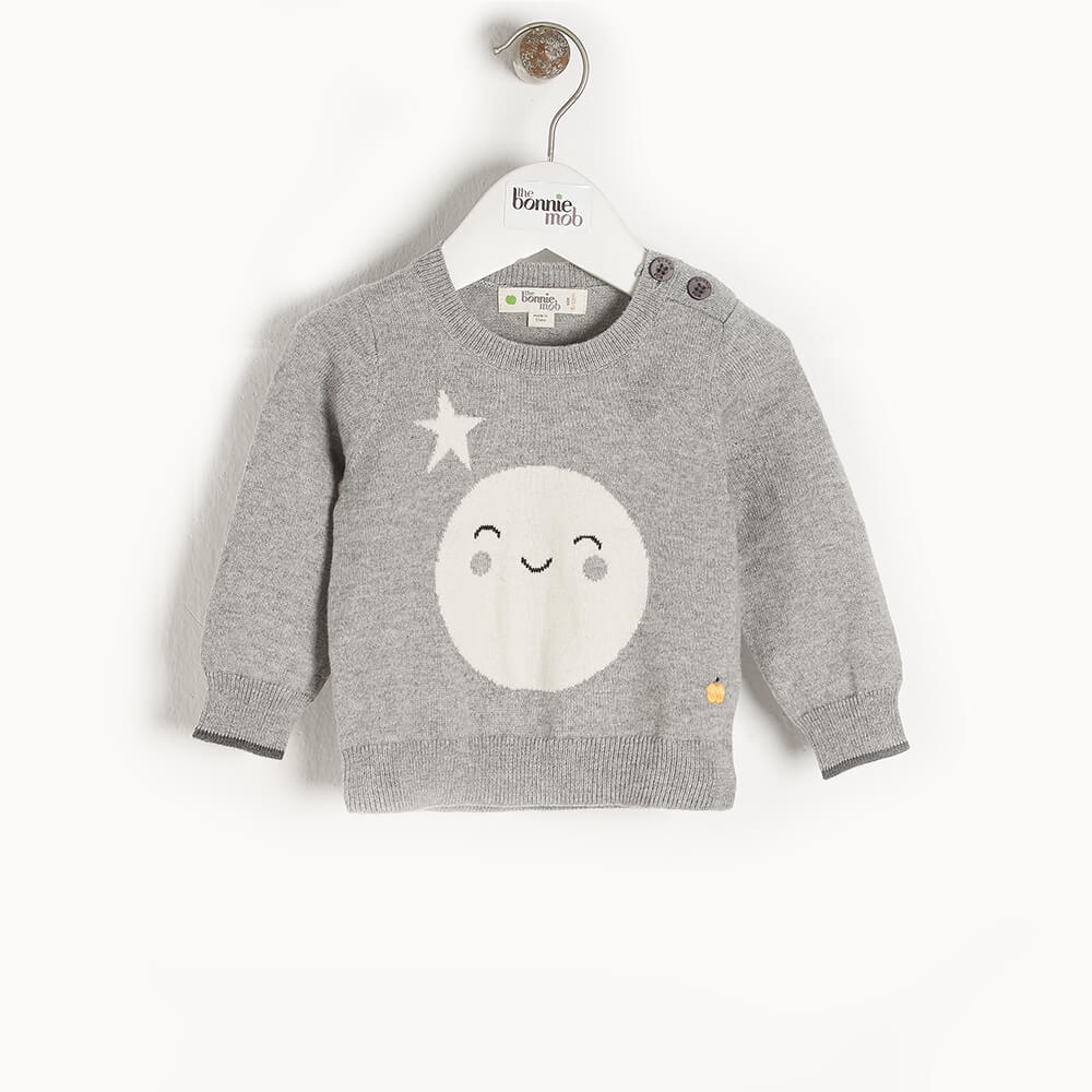 MOONLIGHT - Baby Moon Intarsia Sweater GREY - The bonniemob