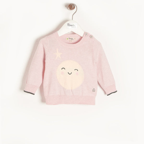MOONLIGHT - Baby Moon Intarsia Sweater PINK - The bonniemob