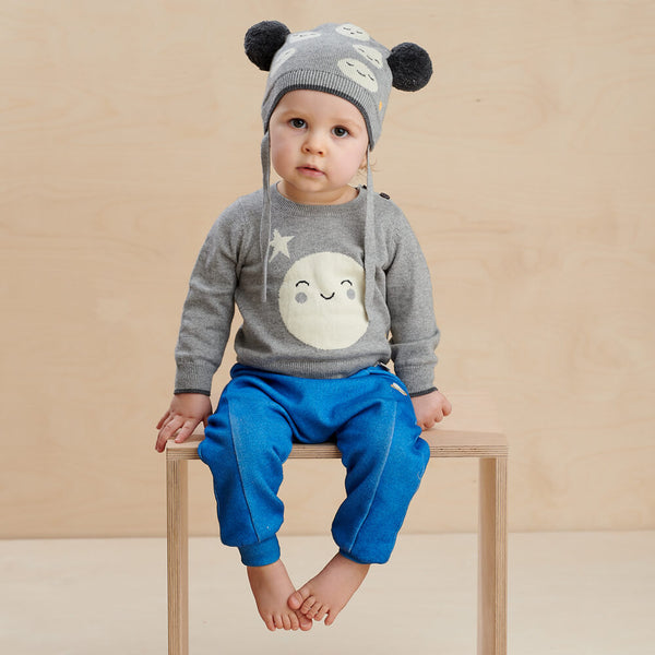 MARS - Baby Moon Jaquard Pom Pom Hat GREY - The bonniemob