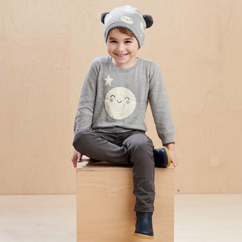 MOONLIGHT - Kids Moon Intarsia Sweater  GREY - The bonniemob