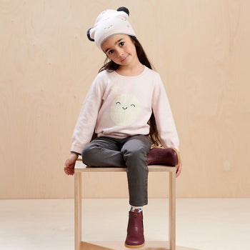 MOONLIGHT - Kids Moon Intarsia Sweater  PINK - The bonniemob