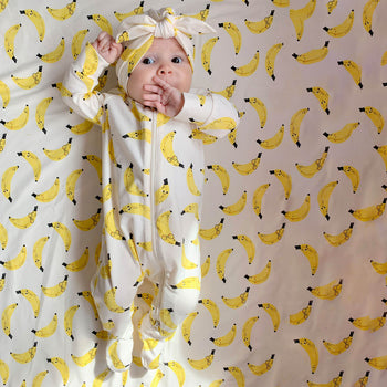 RELAX - Baby Zip Front Sleepsuit BANANA - The bonniemob