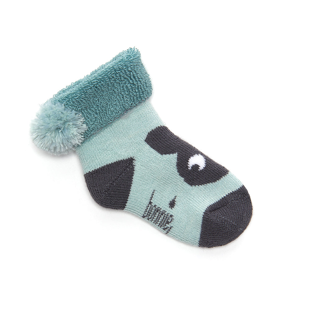 SHELLY - Baby Boy Bunny Head Booties - Powder Blue