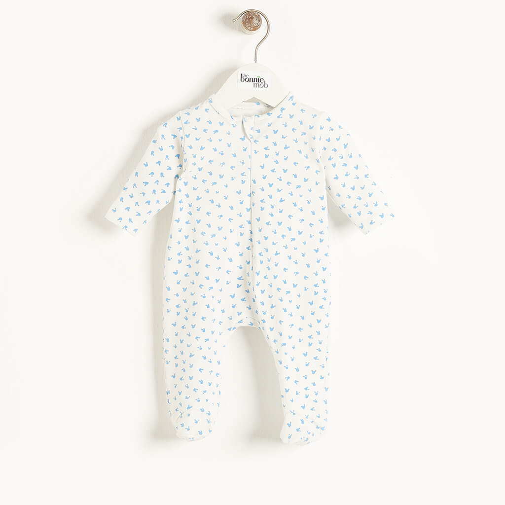 SLEEPY - Baby Bunnies Zip Sleepsuit BLUE - The bonniemob