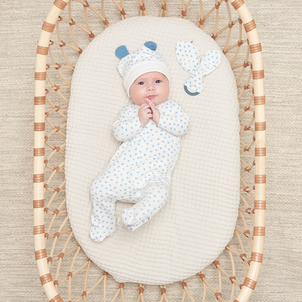 BOBTAIL GIFT SET - Baby Sleepsuit + Teether Set BLUE - The bonniemob
