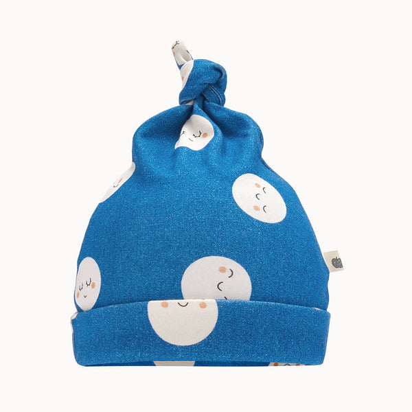 SNOWMOON - Baby Beanie Hat With Tie Top DENIM - The bonniemob