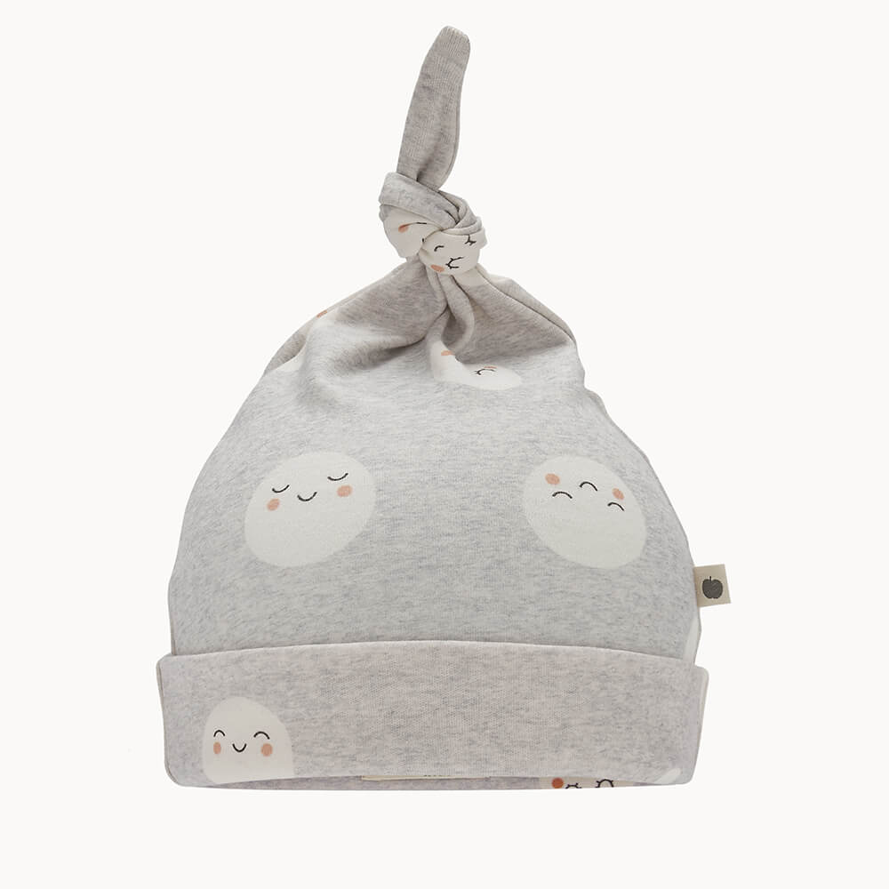 SNOWMOON - Baby Beanie Hat With Tie Top GREY - The bonniemob