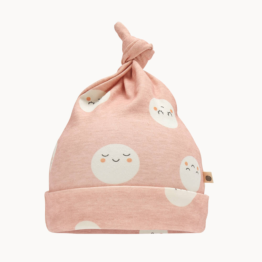 SNOWMOON - Baby Beanie Hat With Tie Top PINK - The bonniemob