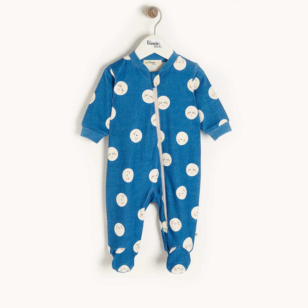 SUPERMOON - Baby Zip Front Sleepsuit DENIM - The bonniemob
