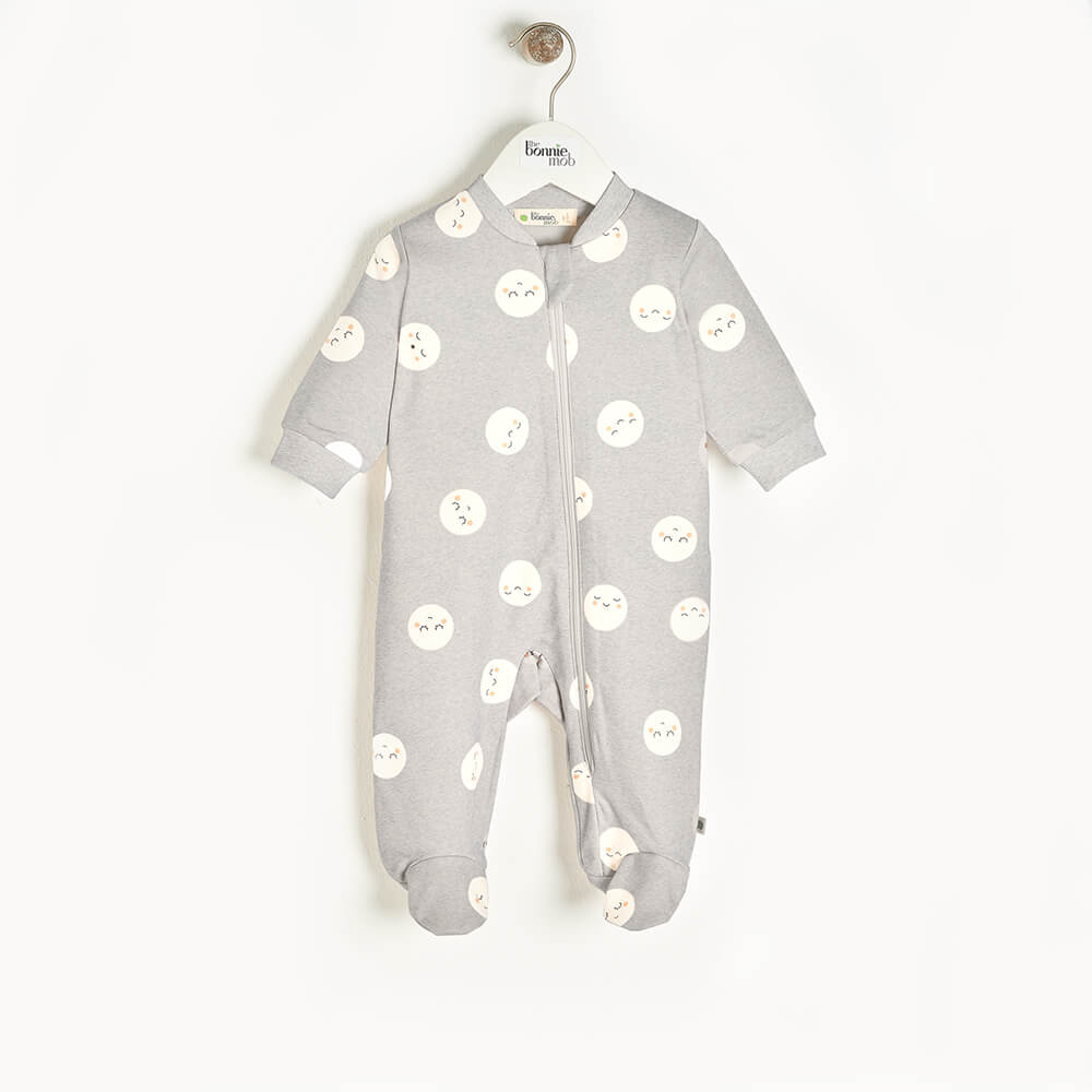SUPERMOON - Baby Zip Front Sleepsuit GREY - The bonniemob
