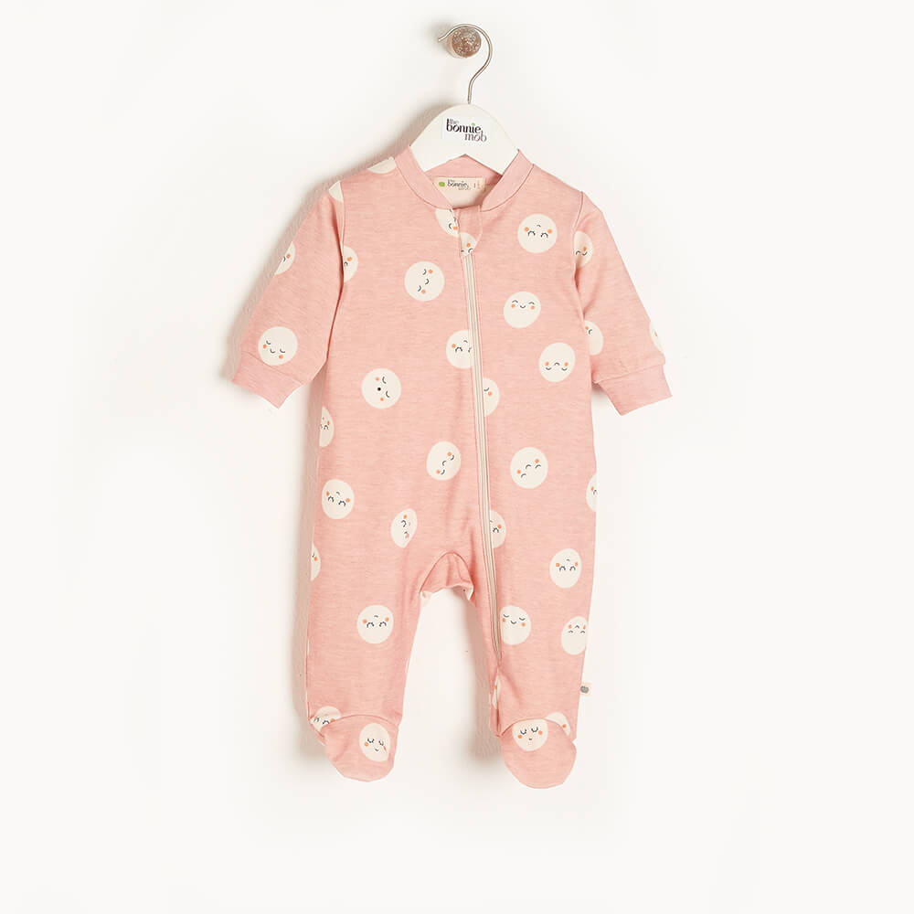 SUPERMOON - Baby Zip Front Sleepsuit PINK - The bonniemob