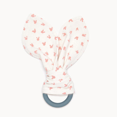 STEVIE - Baby Bunnies Teether Ring PINK - The bonniemob