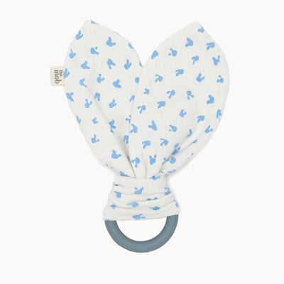 STEVIE - Baby Bunnies Teether Ring BLUE - The bonniemob
