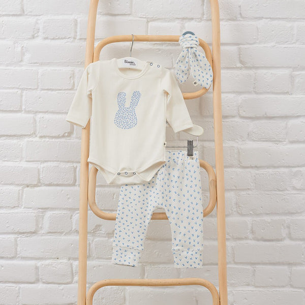 THUMPER GIFT SET - Baby Bodysuit, Legging + Teether Set BLUE