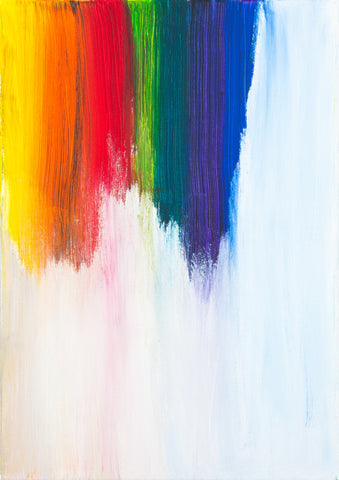 yellow orange red green purple and blue brush strokes are smeared down the upper left corner of a white canvas, the colors blending together and gently spread down fading to almost nothing