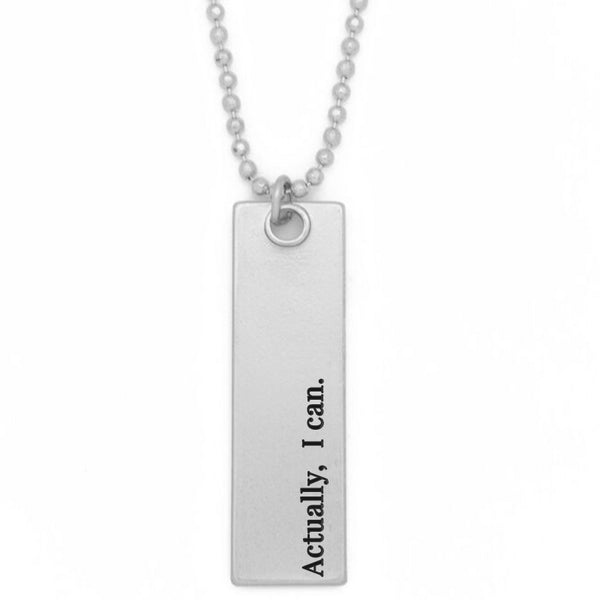 "Bar Pendant Necklace, ""Actually, I Can"" - 36"""