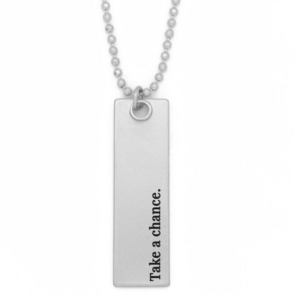 "Bar Pendant Necklace, ""Take a chance"" - 36"""