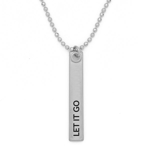 "Bar Pendant Necklace, ""Let it go"" - 24"""