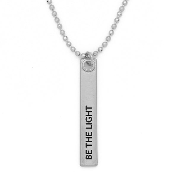 "Bar Pendant Necklace, ""Be the light"" - 24"""