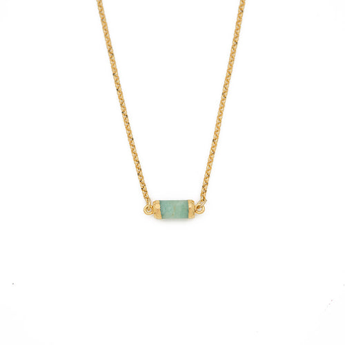 "FIND YOUR INNER STRENGTH. Gemstone choker, Amazonite - 14-16"", Gold"