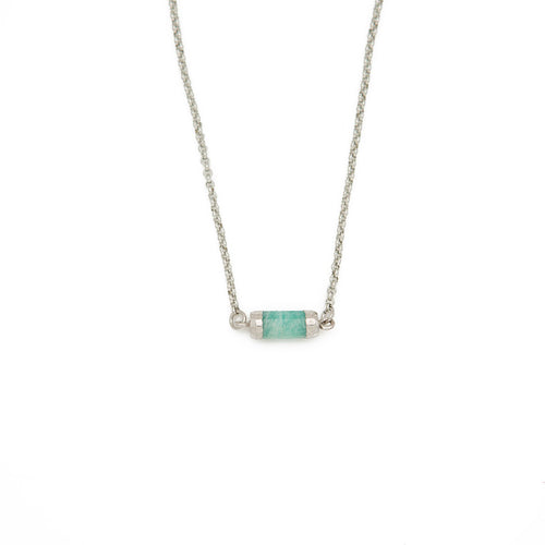 "FIND YOUR INNER STRENGTH. Gemstone choker, Amazonite - 14-16"", Silver"