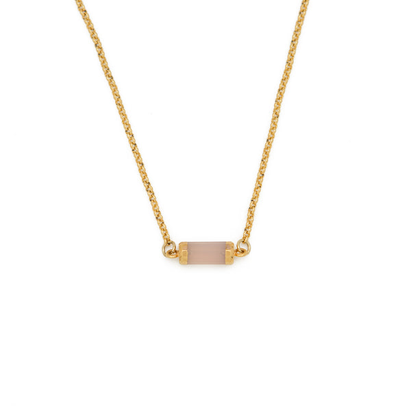 "KNOW YOU ARE LOVED. Gemstone choker, Rose Quartz - 14-16"", Gold"