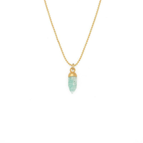 "FIND YOUR INNER STRENGTH. Gemstone Spike Necklace, Amazonite - 15-17"", Gold"