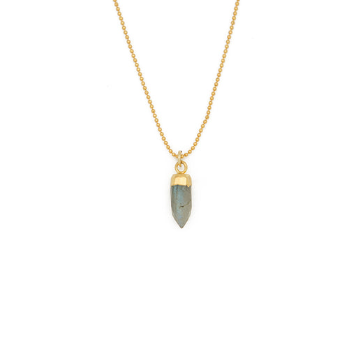 "ACHIEVE YOUR DREAMS. Gemstone Spike Necklace, Labradorite - 15-17"", Gold"