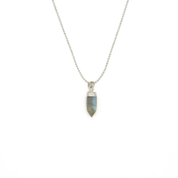 "ACHIEVE YOUR DREAMS. Gemstone Spike Necklace, Labradorite - 15-17"", Silver"