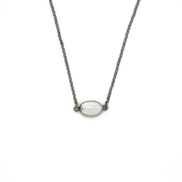 "Pearl Choker Necklace - 14-16"", Gunmetal"