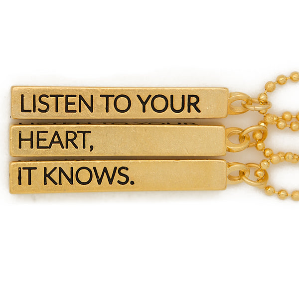 "Cube pendant necklace, ""Listen to your heart, It knows"" - 36"""