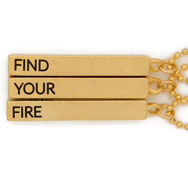 "Cube pendant necklace, ""Find, your, fire"" - 36"""