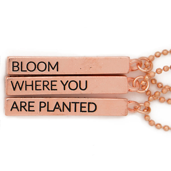 "Cube pendant necklace, ""Bloom, where you, are planted"" - 36"""