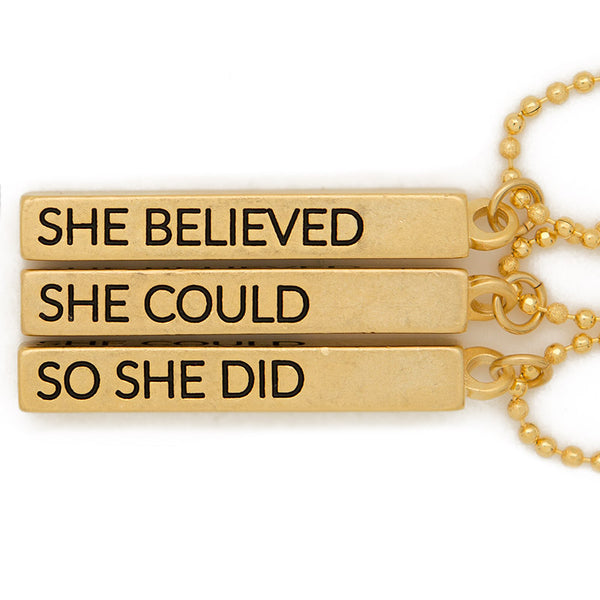 "Cube pendant necklace, ""She believed, she could, so she did"" - 36"""